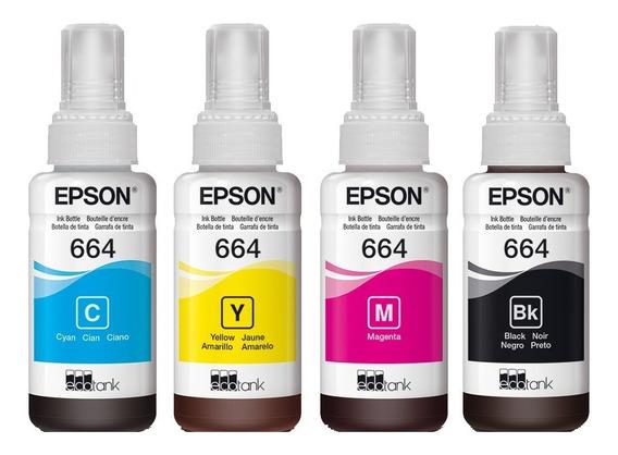Botella Tinta Epson T664 Original 70 Ml Set De 4 Colores