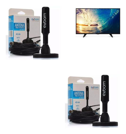 Kit 2 Antenas Tv Conversor Digital Hdtv Interna/ext 5 Mt
