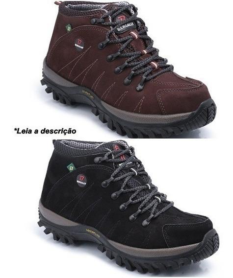 Kit 2 Pares Bota Adventure Jipe Caminhada Rapel Couro 100%