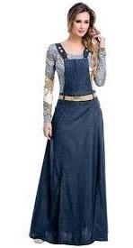 Vestido Jardineira Jeans Denim Longa Linda Cod#45