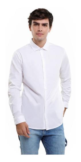 Camisa Hombre Básica Slim Fit Con Puño Cuello Oxford Lob