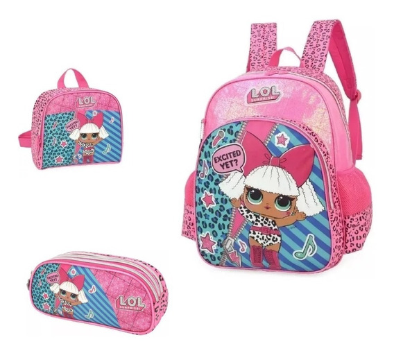 Kit Mochila Lol Surprise+lancheira+estojo 33001 Original