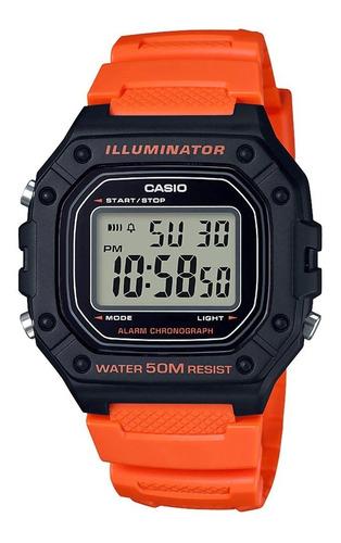 Reloj Hombre Casio W-218h-4b2v Naranjo / Lhua Store
