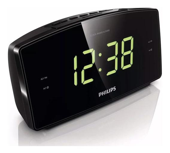 Radio Relógio Philips Aj3400 Fm Visor Grande Despertador