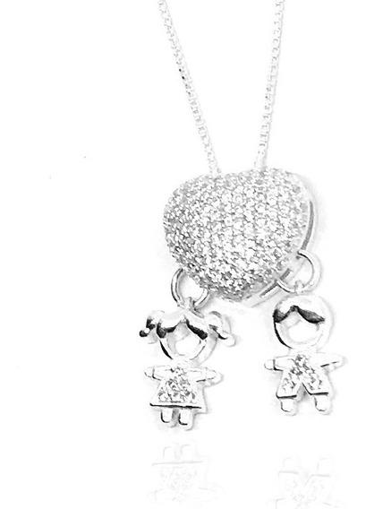 Colar Coração Casal Menino E Menina Pedras Zirconias Prata