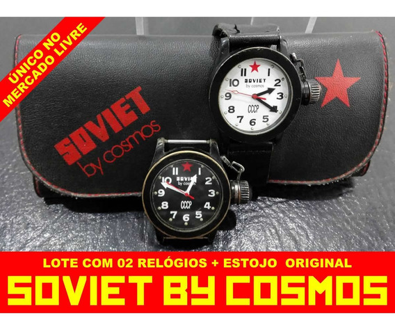 Relógios Soviet By Cosmos 2 Peças, Estojo E Pulseira Antigo