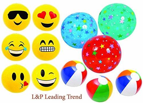 Inflables 12 Y 16 Rainbow Color Emoji Y Estrellas Beach Ball