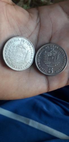 Lotes De Monedas De 5 Bolívares De Los Años 1973-1977