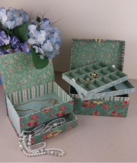Kit Caixa Porta Bijuterias E Porta Joias Floral