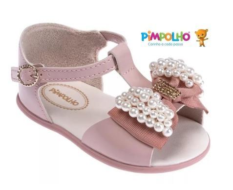 Sandália Infantil Laço Com Pérolas 32928c Pimpolho