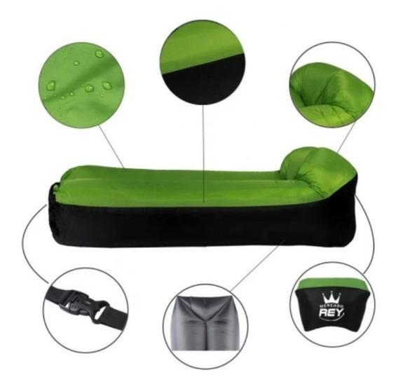 Colchón Inflable Lazy Bag Con Almohada Incluida Verde