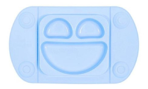 Prato Infantil Smile Silicone Azul 32x19cm Mimostyle Bebe