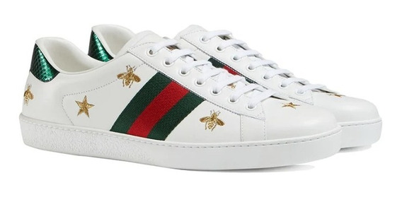 Tênis Gucci Ace Couro Branco Estrela