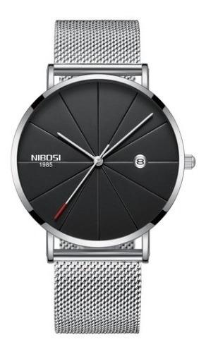 Relógio Masculino/feminino Slim Nibosi/promoção/barato/prata