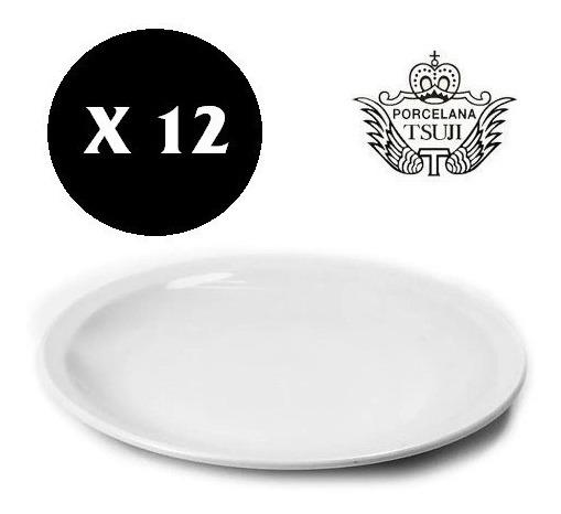 12 Plato Playo Postre 19 Cm Tsuji Porcelana Sin Sello