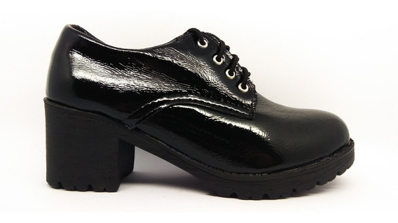Sapato Feminina Oxford Salto Alto Tratorado 2018 Couro