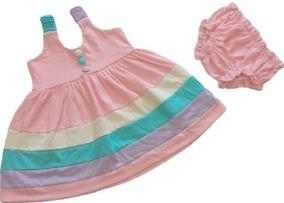 Vestidos E Calcinhas Bebê Menina Colorido Kit 2+2= 4 Peças