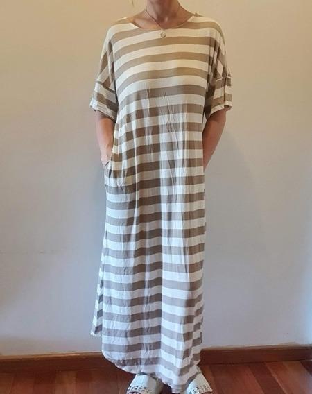 Vestido Playero Largo Rayado En Modal Tipo Crepé Ss20