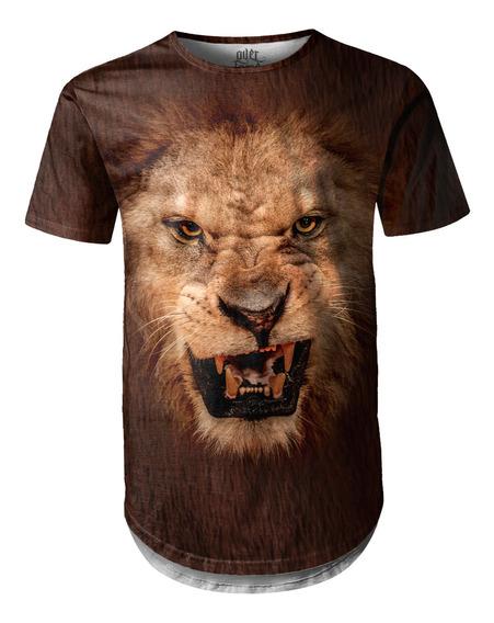 Camiseta Masculina Longline Swag Big Face Leão