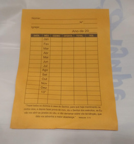 Envelope De Dízimo - Pacote C/ 50 Unidades