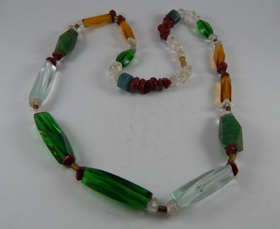 Colar Quartzo Verde Pedras Coloridas Roladas Lapidadas C010