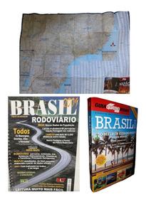 Kit Mapão + Guia 4 Rodas + Guia Rodoviário Mapas Por Estado