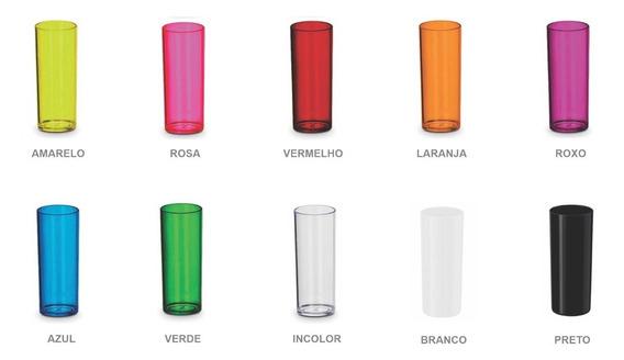 100 Copos Long Drink Liso Translúcido E Sólido No Atacado