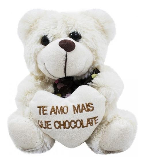 Urso Pelúcia Creme Amo Mais Que Chocolate
