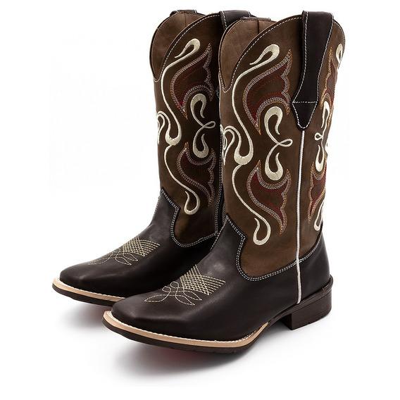 Bota Botina Feminina Texana Americana Bico Quadrado Outlet