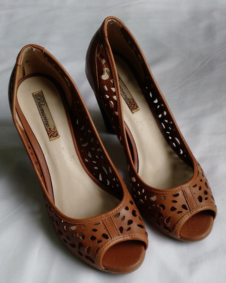 Sapato Aberto Salto 9 Cm Blumarine Couro Ñ Bottero Retrô