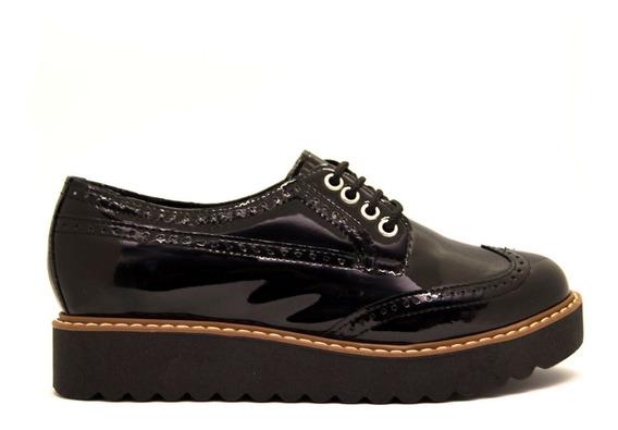 Zapatos Mujer Abotinado Acordonado Charol Negro Con Vira