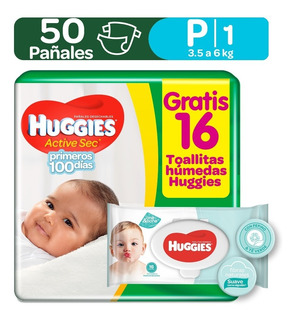 Pañales Huggies Active Sec Etapa 1 - Unidad a $412