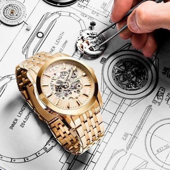 Relógio Technos Automático Dourado Lindo 8205nq/4x Esqueleto