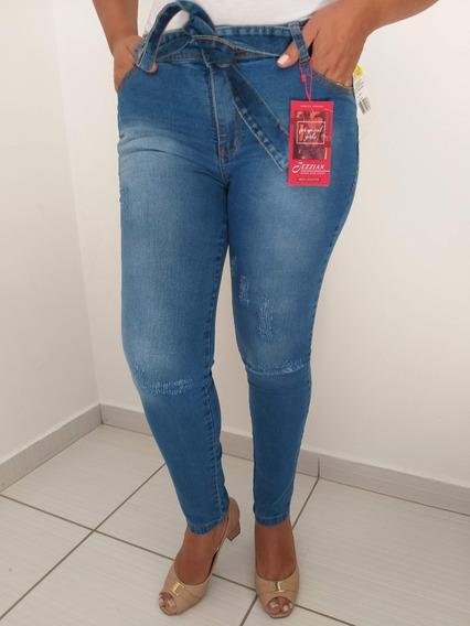 Calca Jeans Feminina Cintura Alta Com Lycra Levanta Bumbum.