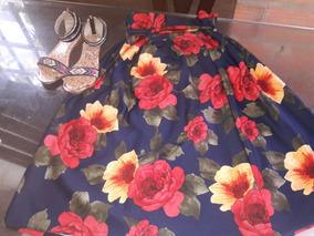 Hermosa Falda Midi Floreada Talla Unic Y Nueva+sandalias Con
