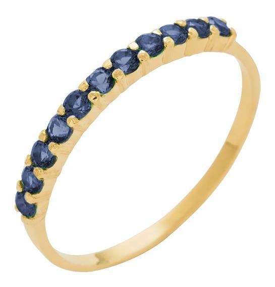 Meia Aliança Ouro 18k Feminino C/ Safira Azul Natural C/ Nf