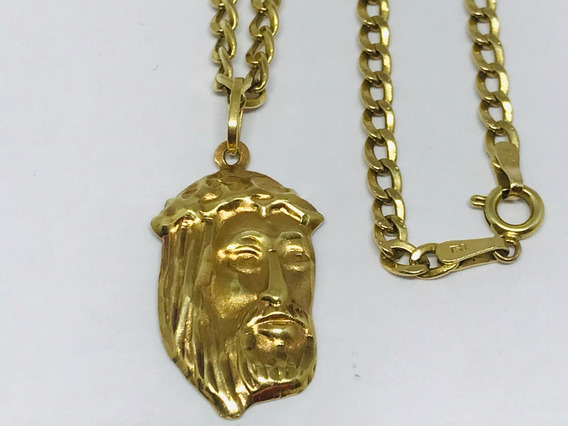 Colar Corrente Ouro 18k Groumet Grumet Pingente Jesus Cristo