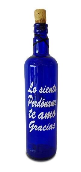 4 Botella Hoponopono Vidrio Azul Solarizar Agua