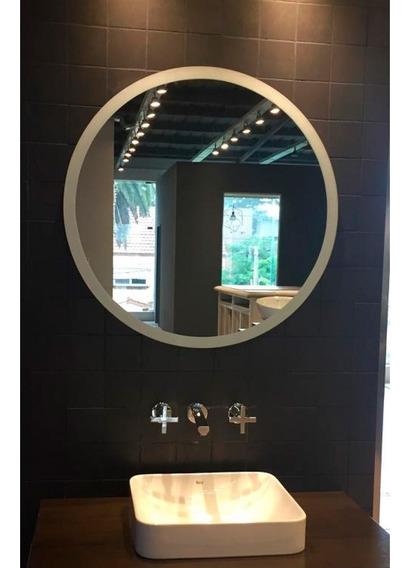 Espejo Baño Redondo Bisel 70cm Satinado Reflejar Sin Interes