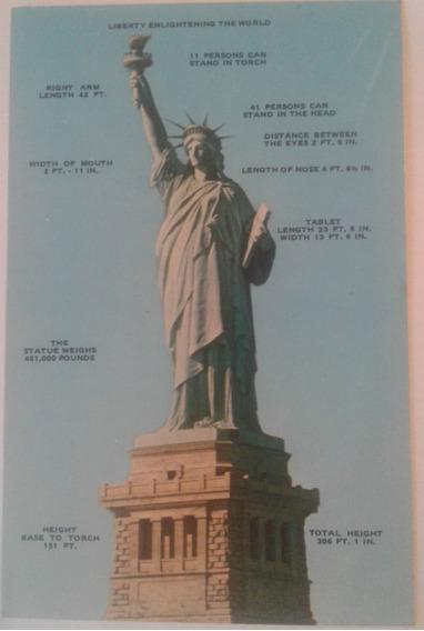 Antigua Postal Estatua De La Libertad Sin Escritura