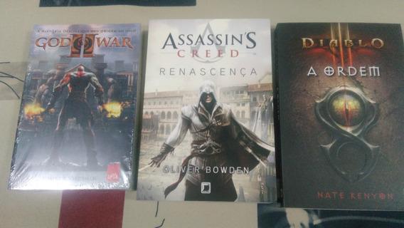 Kit Livros Games God Of War 2 + Diablo + Assassin