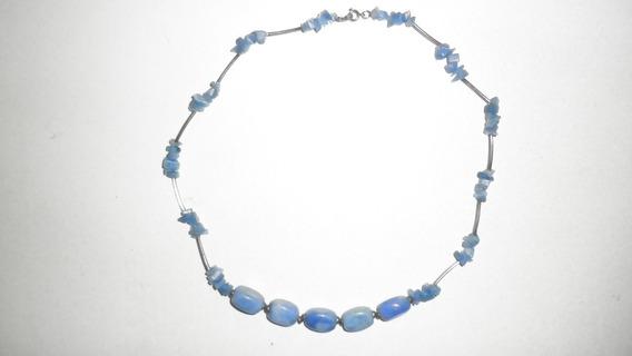 Collar De Piedras De Lapislázuli - 76 Pzas - 54 Cm De Largo
