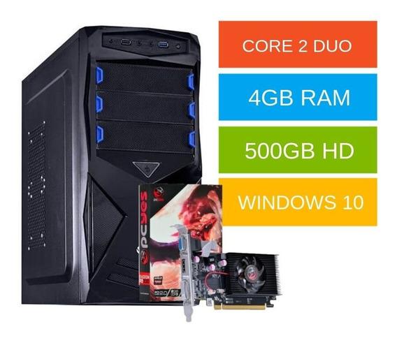Cpu Gamer Core 2 Duo 4gb Hd500 Win10 Até 12x Sem Juros