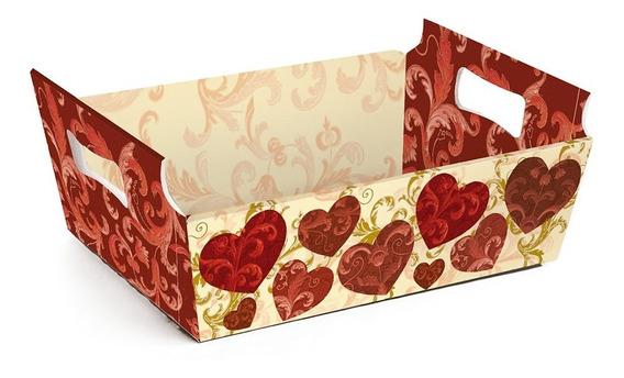 10 Mini Cestas De Cartao Coração Vermelho