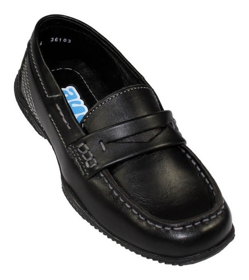 Zapato Escolar Colegial Mocasin Coqueta Niño Negro Piel36103