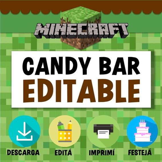 Kit Candy Bar Minecraft Editable Imprimible