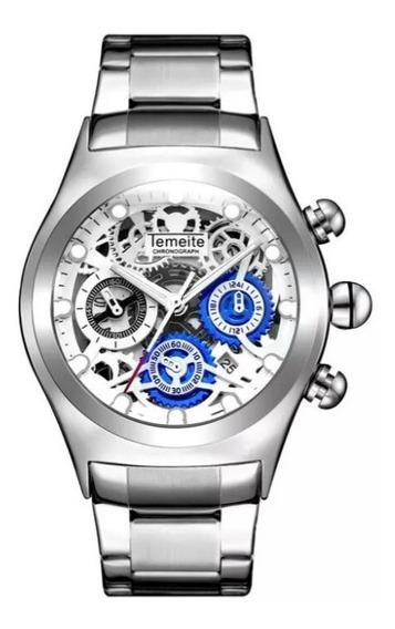 Relógio Masculino Temeite Analógico Ds3 Esqueleto Vidro 3d.