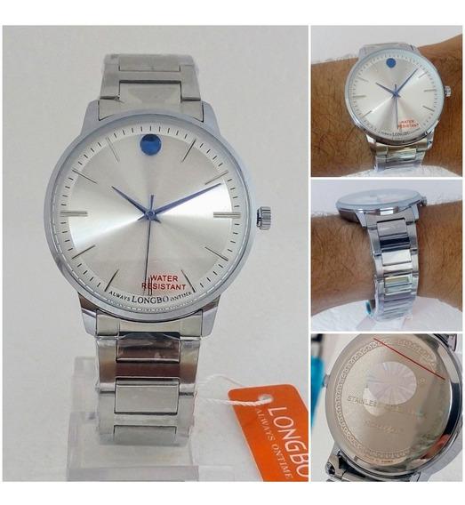 Relógio Masculino Longbo Original Prateado Social Luxo Vip