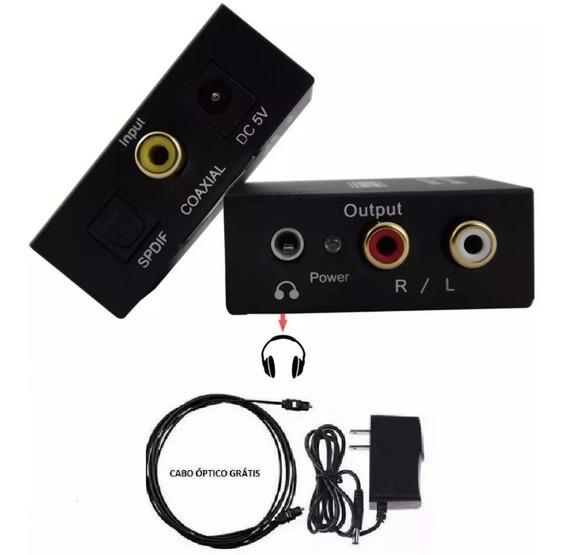 Kit Adapt De Áudio Óptico P Rca E P2 + Cabo Optico + Cabo P2