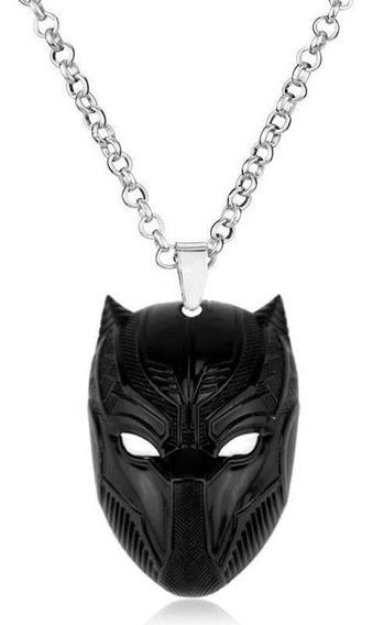 Colar Com Pingente Pantera Negra Marvel Aço Inoxidável Preto